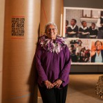 A woman in the Grandmother Power exhibition