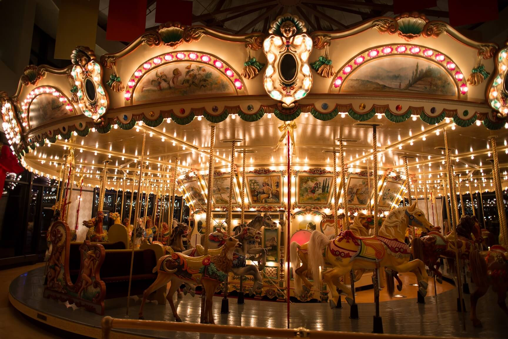 1928 Spillman Carousel lit up at night