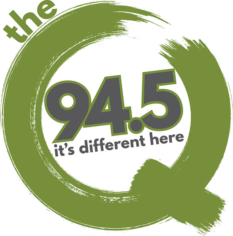The Q 94.5 radio logo It's different here