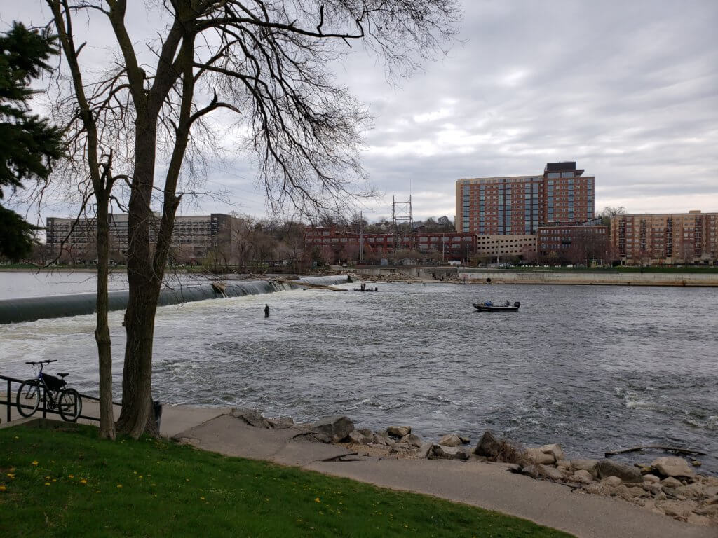 Anglers in the Grand River