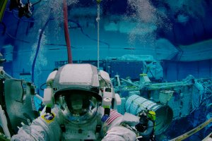Astronaut training in NASA's Neutral Buoyancy Lab (NBL) in Houston, TX.  Promotional frame from the fulldome film